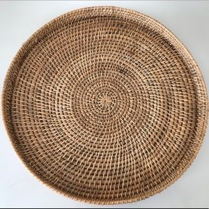 Vintage Large Woven Rattan Tray